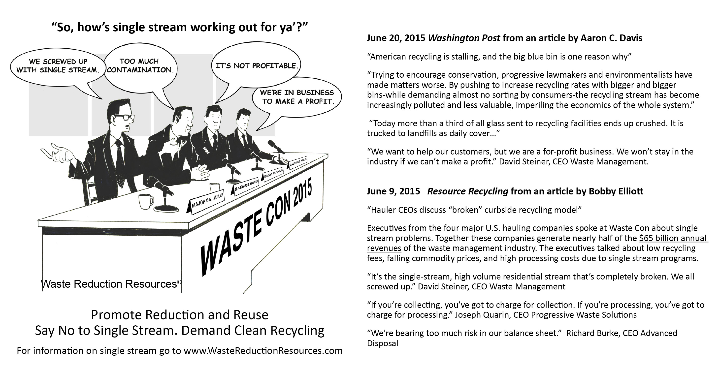 Promote Recycling and Reuse – Say No to Single Stream